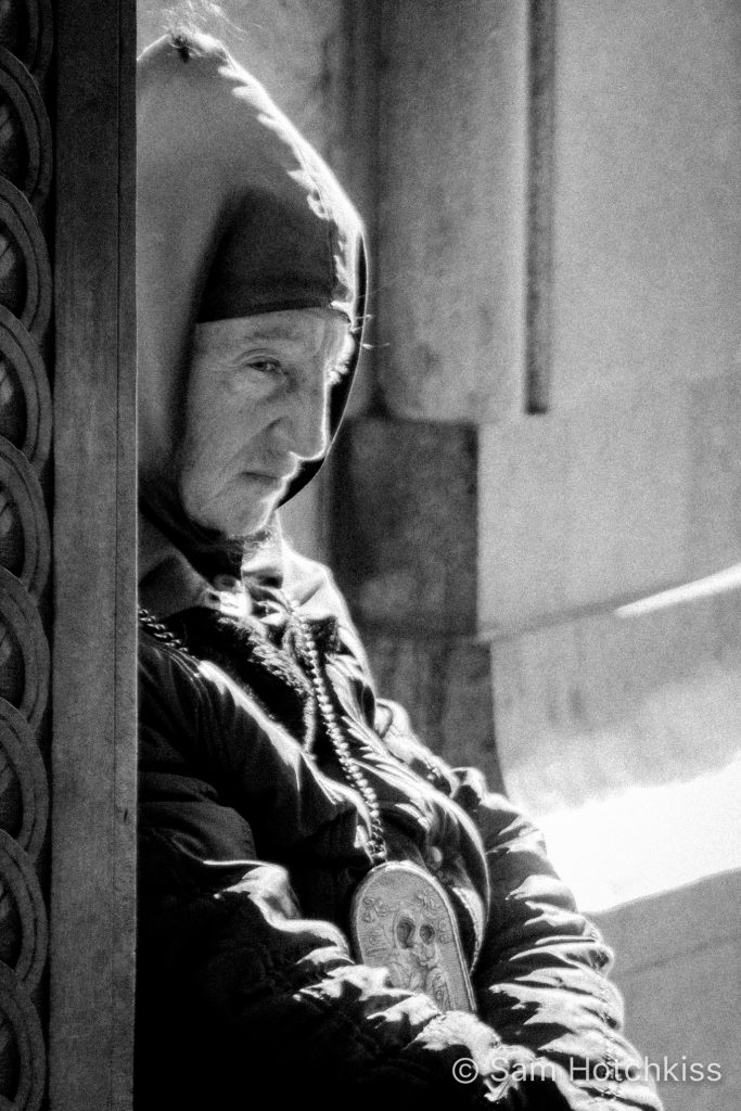 Beggar outside Tbilisi Cathedral